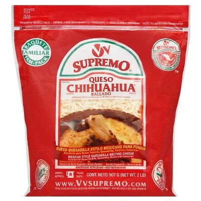 V&V Supremo Queso Chihuahua Rallado Mexican Style Shredded Melting Cheese - 2lbs