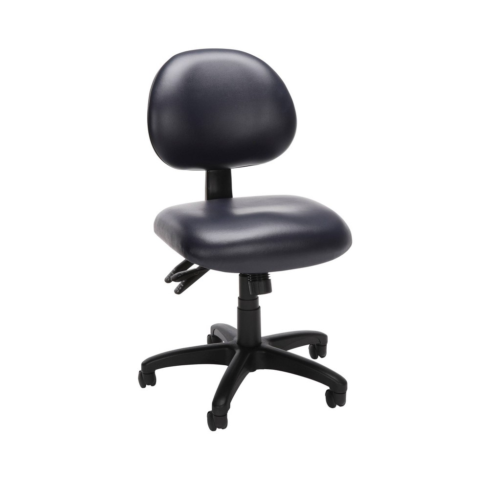 Image of 24 Hour Ergonomic Mid Back Anti Bacterial Vinyl Armless Task Chair Navy - OFM