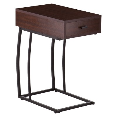 Side Table with USB Brown - Aiden Lane