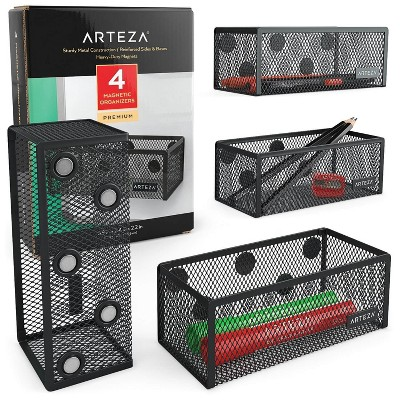 Arteza Mesh Magnetic Organizers, Black, for Office, Home, Classroom, or School - 4 Pack (ARTZ-8943)