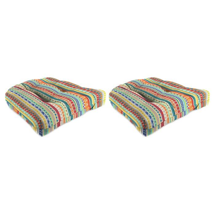 Outdoor Set Of 2 Wicker Chair Cushions In Bramlett stripe Carotene  - Jordan Manufacturing - image 1 of 2