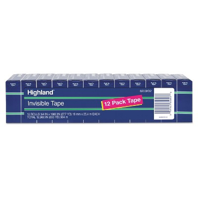 "Highland Invisible Permanent Mending Tape 3/4"" x 1000"" 1"" Core Clear 12/Pack 6200K12"