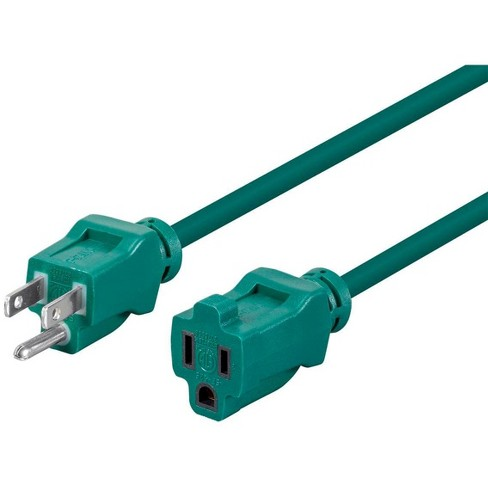 12ft 16AWG Green Outdoor Power Extension Cord, 13A (NEMA 5-15P to NEMA 5-15R) - image 1 of 3