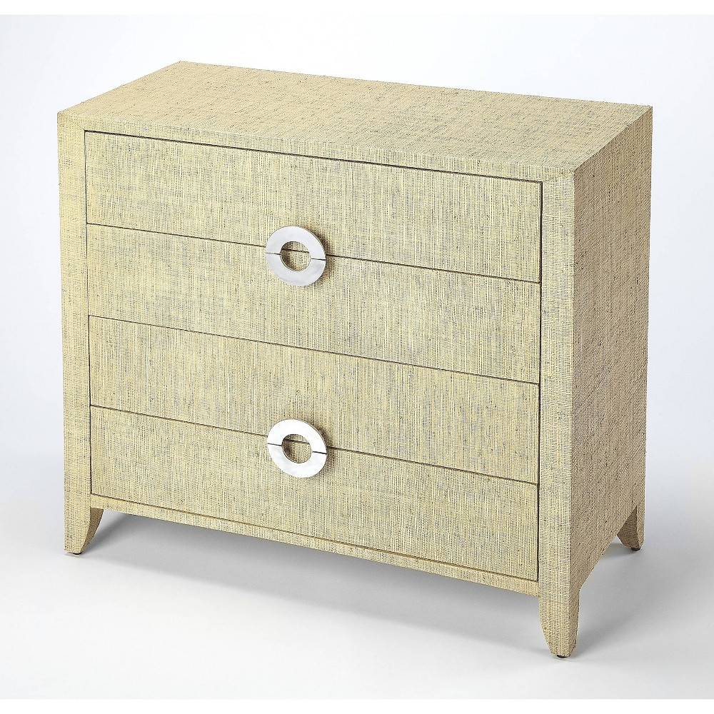 Image of Amelle Raffia 4 Drawer Accent Chest Beige - Butler Specialty