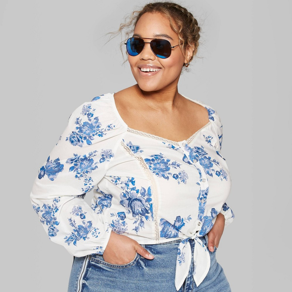 Women's Plus Size Floral Print Long Sleeve Tie Front Button-Up Blouse - Wild Fable Ivory 2X, White