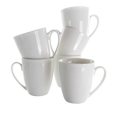 12oz 6pc Porcelain Rosales Mug Set White - Elama