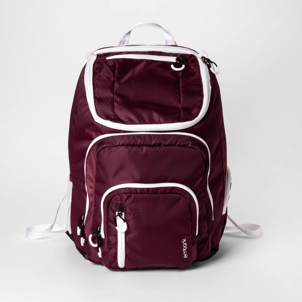 "Image of ""19"""" Jartop Elite Backpack Burgundy/White - Embark , Size: Large, Red"""
