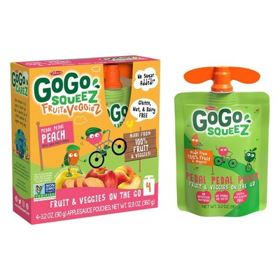 Gogo Squeez Fruit & Veggies On The Go Pedal Peach Pouches 4ct - 3.2oz