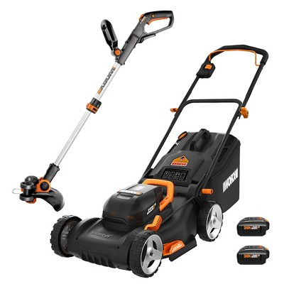 Worx WG911 Power Share 40V Lawn Mower and 20V Grass Trimmer (WG743 and WG163)