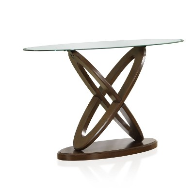 Daury Glass Top Crossed Ovals Sofa Table Dark Walnut - HOMES: Inside + Out