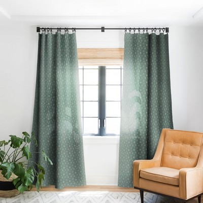 Avenie Abstract Squares Green Single Panel Blackout Window Curtain - Society6
