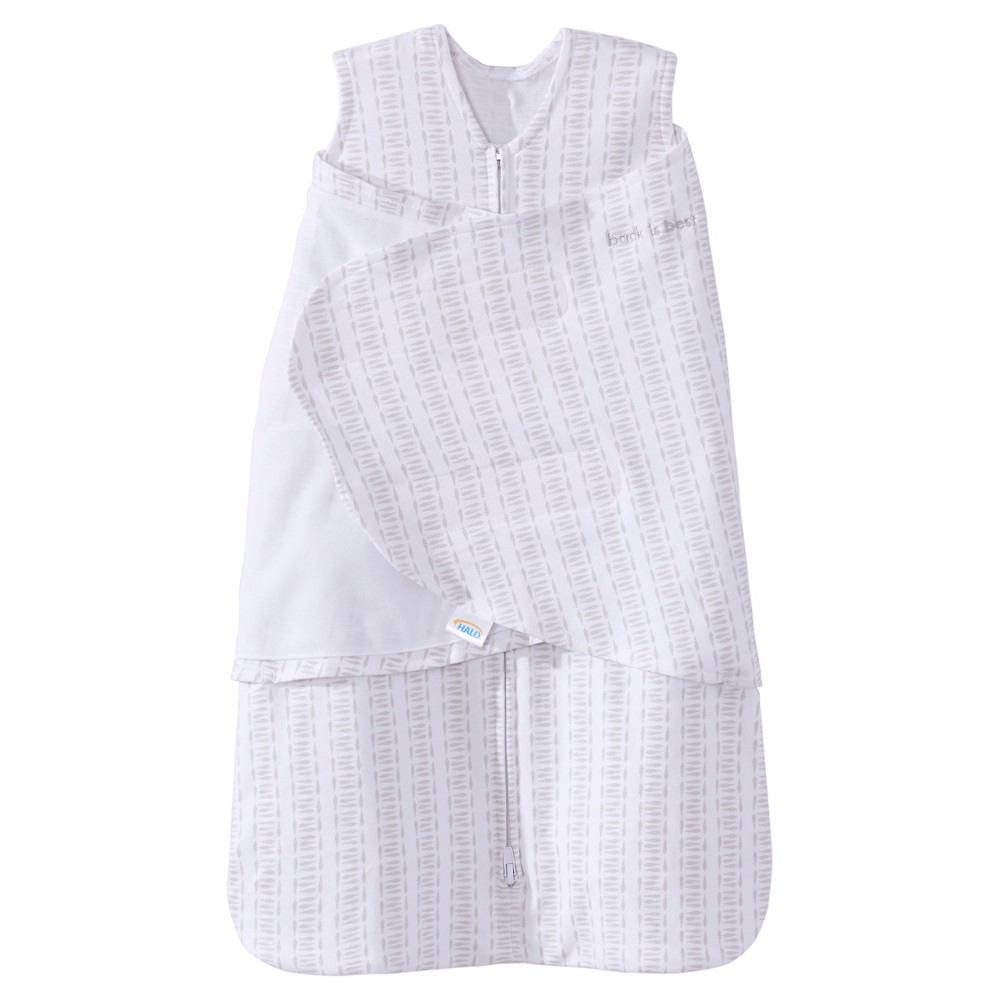Halo SleepSack 100% Cotton Swaddle Wrap - Twine Print - Newborn, Gray