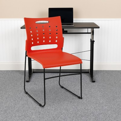 Flash Furniture 881 lb. Capacity Sled Base Stack Chair with Carry Handle and Air-Vent Back