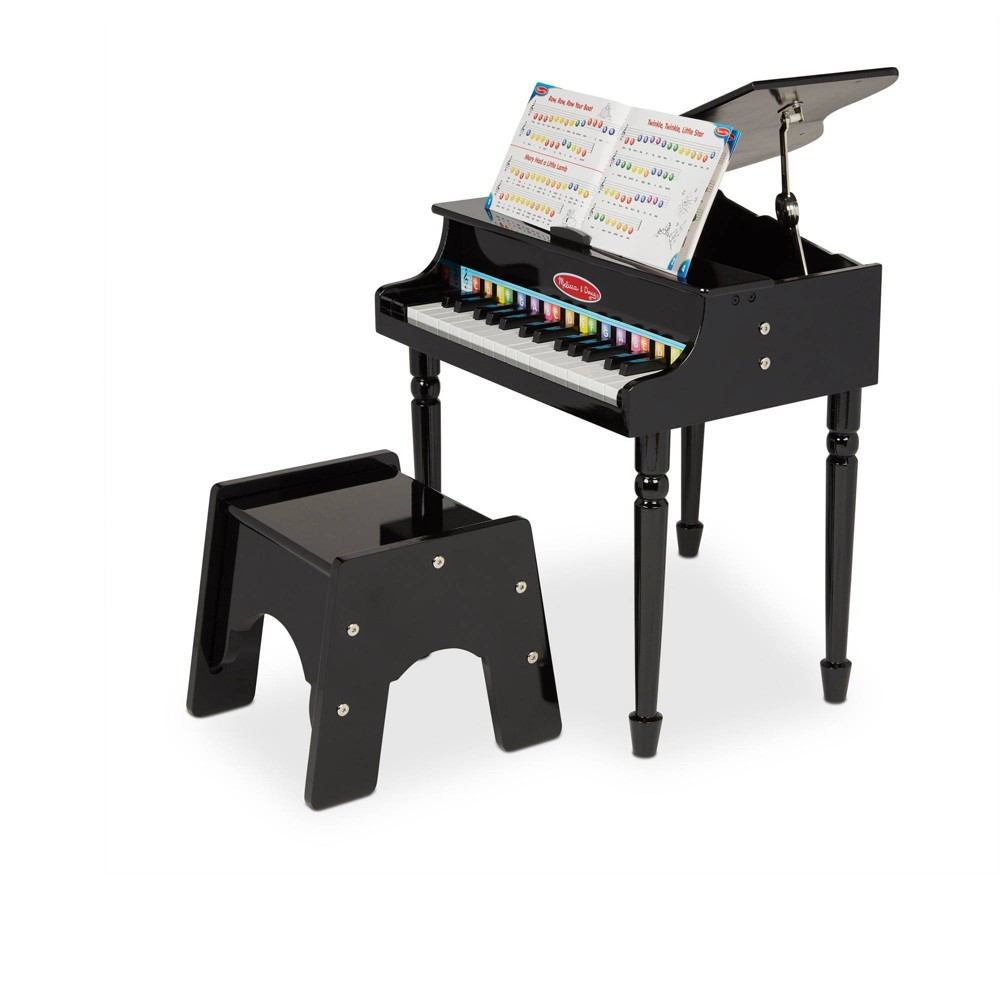Melissa 38 Doug Learn To Play Classic Grand Piano With 30 Keys Color Coded Songbook And Non Tip Bench