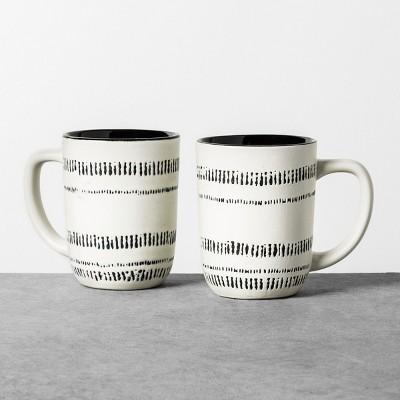 2pk 14oz Mug Black / White - Hearth & Hand™ with Magnolia