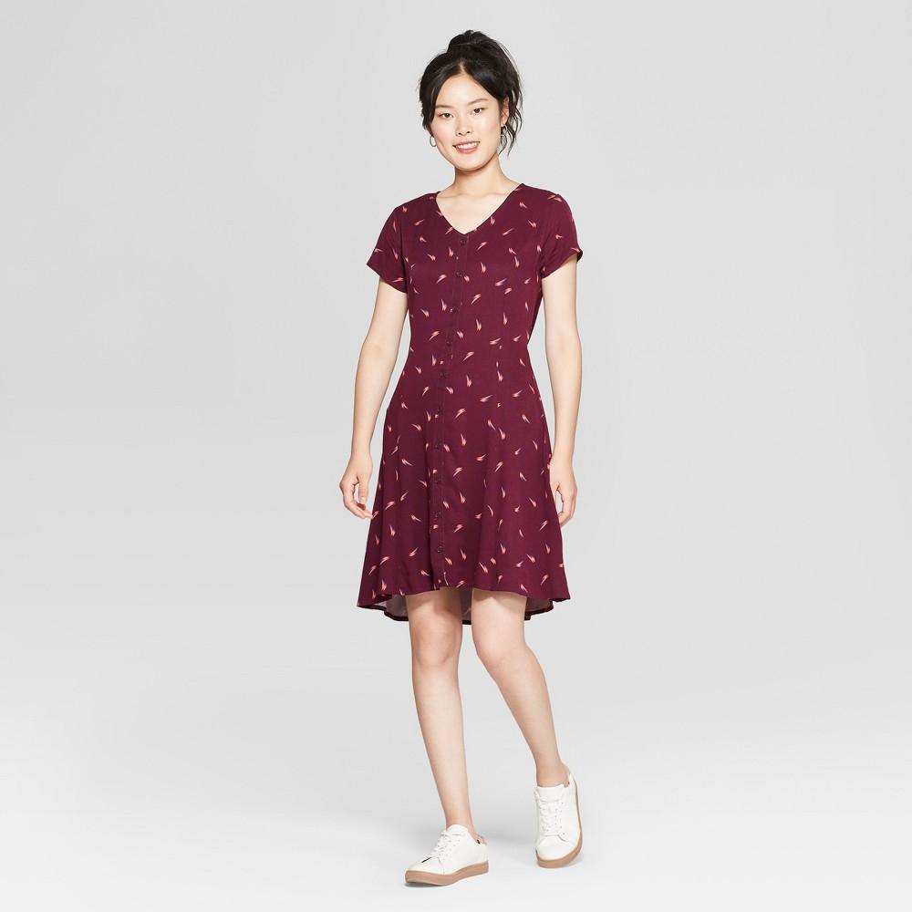 Junk Food Women S David Bowie Short Sleeve Empire Tie Waist Dress Purple M