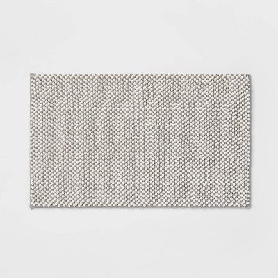 "20""x34"" Low Chenille Memory Foam Bath Rug Light Gray - Threshold™"
