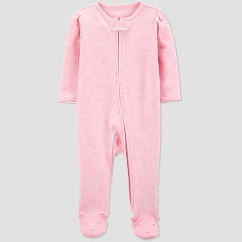 Baby Girls' Pig House Sleep 'N Play One Piece Pajama - Just One You® made by carter's Pink - image 1 of 1