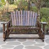 Gardenised Pinewood Outdoor Cabin Log Glider Swing with Side Tables, Brown   - image 2 of 4