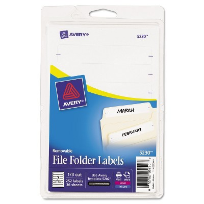 Avery Removable 1/3-Cut File Folder Labels Inkjet/Laser .66 x 3.44 White 252/PK 5230