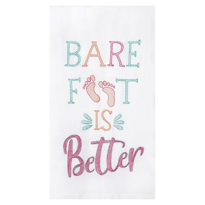 C&F Home Barefoot Is Better Flour Sack Embroidered Cotton Kitchen Towel