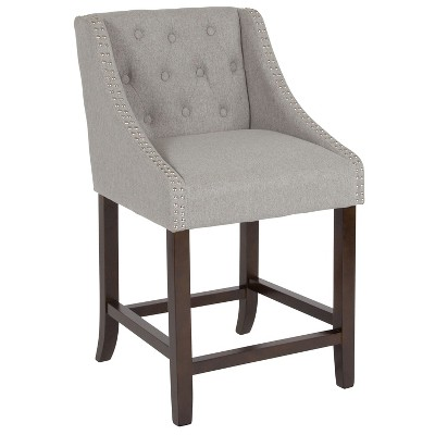 """Merrick Lane Upholstered Counter Stool 24"""" High Transitional Tufted Walnut Counter Stool with Accent Nail Trim in Light Gray Fabric"""