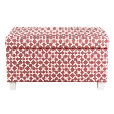 Kids Storage Bench Pink/White Lattice - HomePop