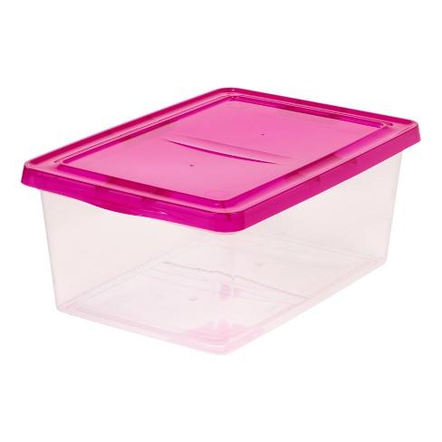 IRIS 17qt Plastic Storage Bin - 2pk With Magenta Lid - image 1 of 5