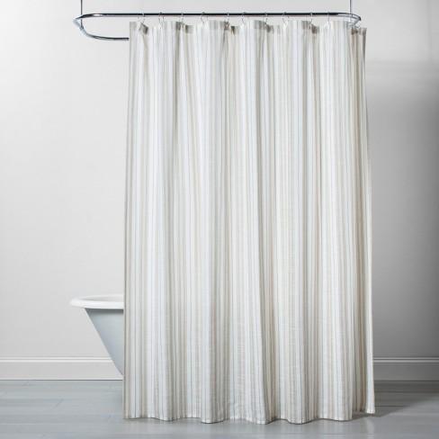 Linen Stripe Shower Curtain Natural/White - Threshold™ - image 1 of 2