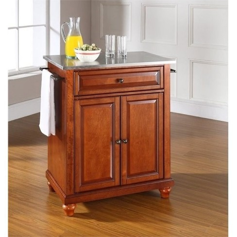 Wood Stainless Steel Top Kitchen Island in Cherry Brown - Bowery Hill