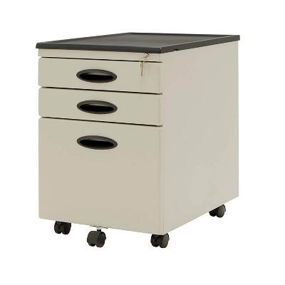 Studio Designs 3 Drawer Office Mobile File Cabinet Drawer Storage, Putty/Black