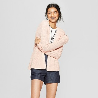 Women's Long Sleeve Belted Wrap Cardigan - A New Day™ Light Pink S