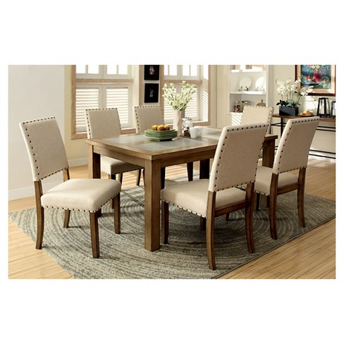 Sun Pine 7pc Stone Inserted Wood Dining Table Set Woodnatural