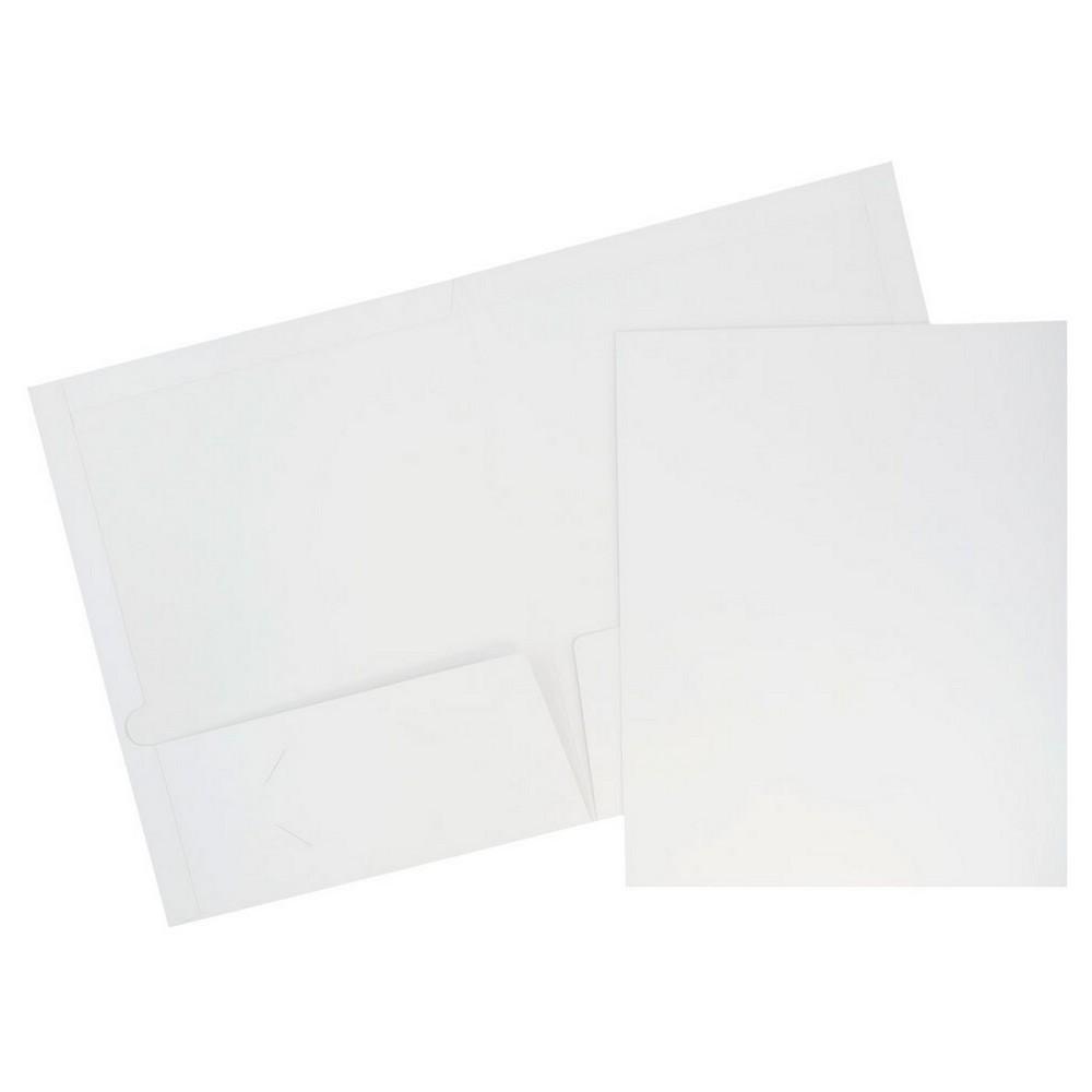 Jam 6pk Glossy Paper Folder 2 Pocket White