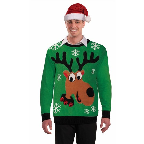 Forum Novelties Green Reindeer Sweater Adult Costume - image 1 of 2