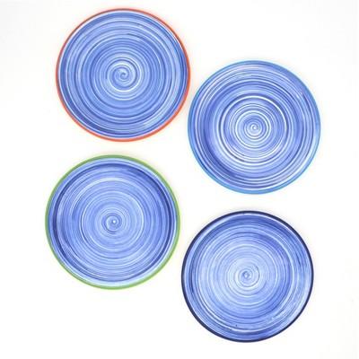 """8"""" 4pk Ceramic Raia Assorted Salad Plates Blue - Euro Ceramica"""