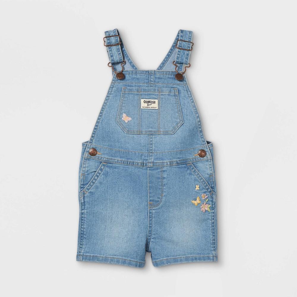 Oshkosh B 39 Gosh Toddler Girls 39 Butterfly Embroidered Shortalls Blue 3t