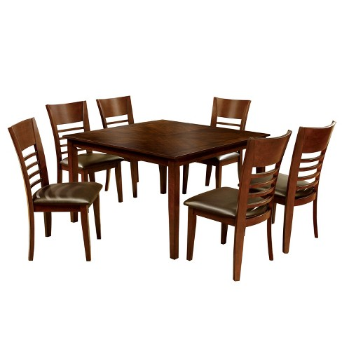 Miraculous 7Pc Perrington Square Dining Table Setbrown Cherry Mibasics Theyellowbook Wood Chair Design Ideas Theyellowbookinfo