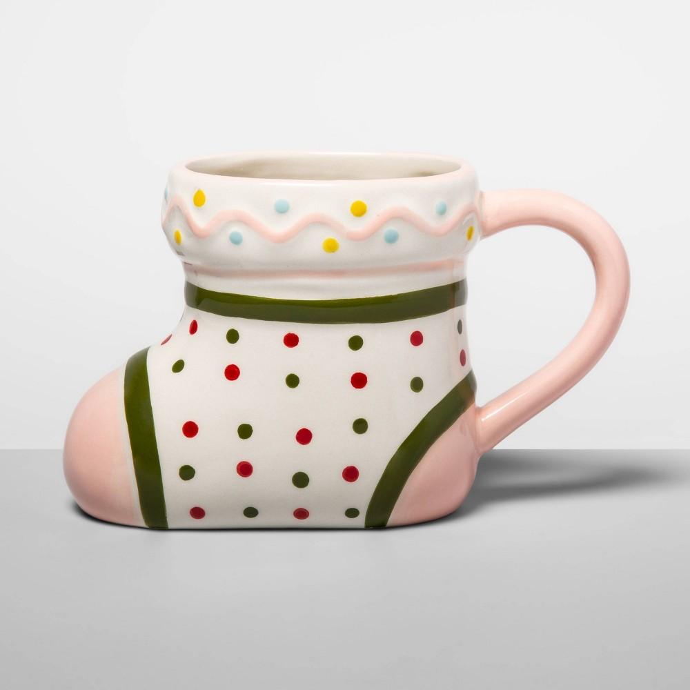 Image of 13oz Earthenware Stocking Mug Pink - Opalhouse