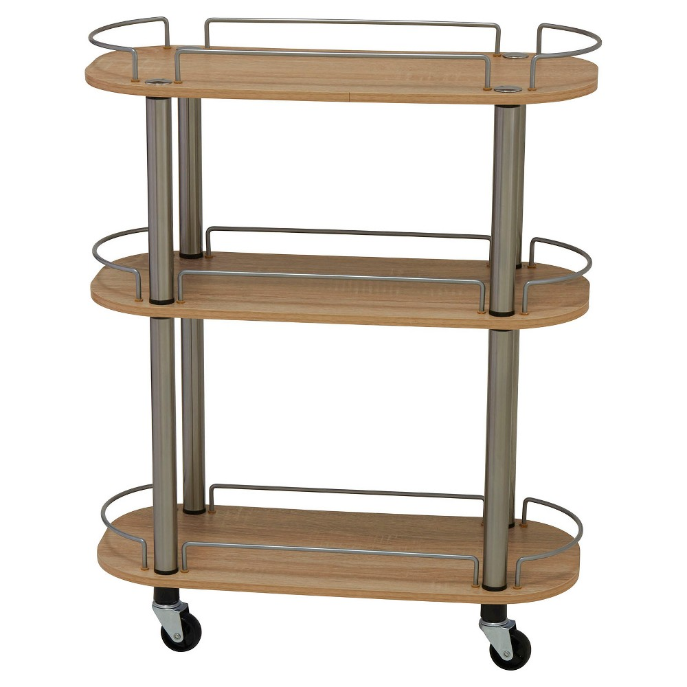 Image of Household Essentials - Rolling 3-Shelf Utility Cart - Light Ash, Brown
