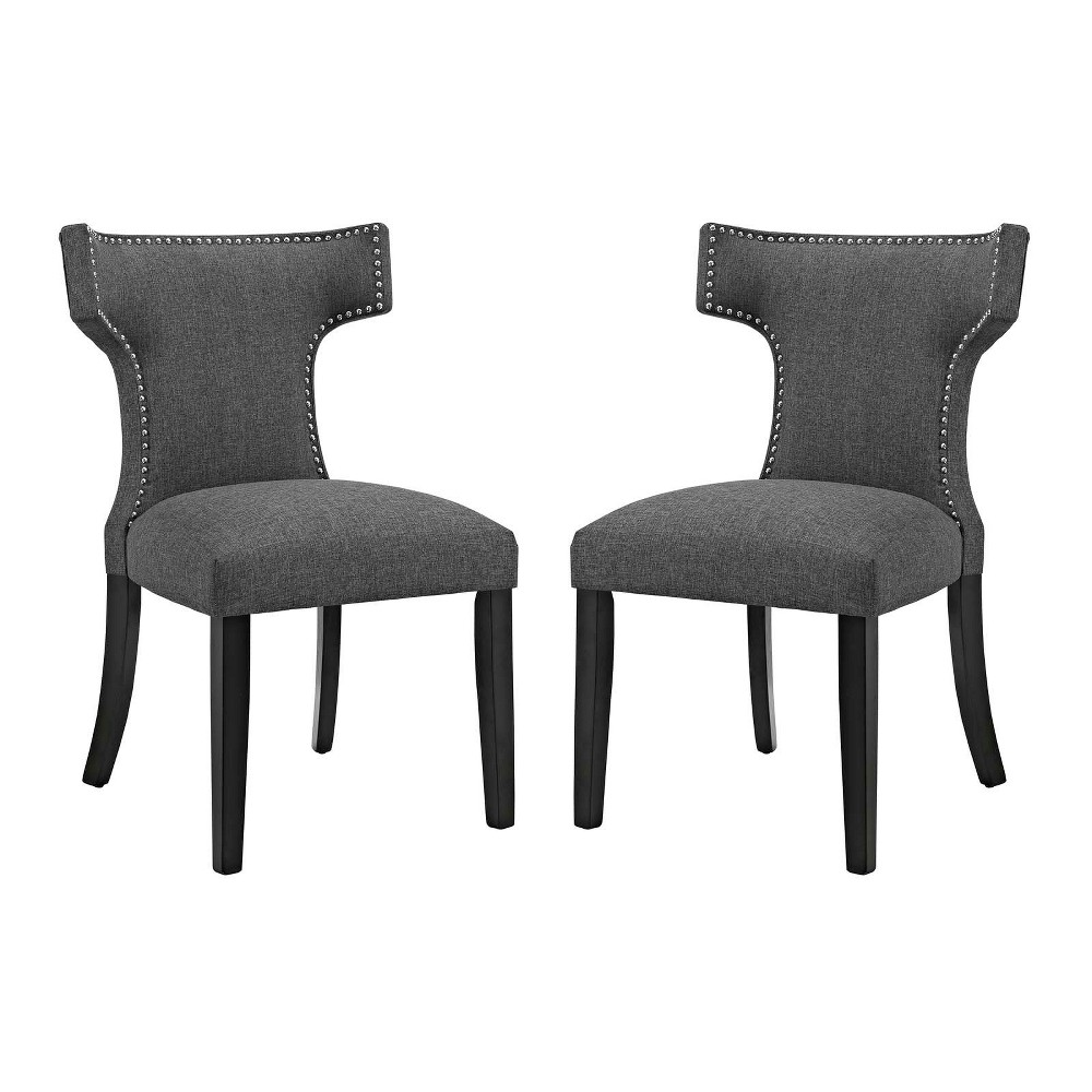 Curve Dining Side Chair Fabric Set of 2 Gray - Modway
