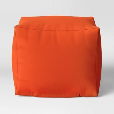 "18"" x 18"" Outdoor Pouf Orange - Room Essentials™"