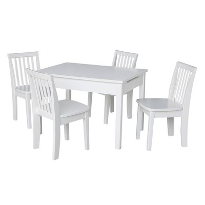 Kids' Table with 4 Mission Juvenile Chairs White - International Concepts