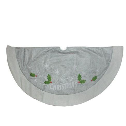"""new product 3899a 2ee43 Northlight 48"""" Gray and White """"Merry Christmas"""" Mottled Felt with  Herringbone Border Trim Christmas Tree Skirt"""