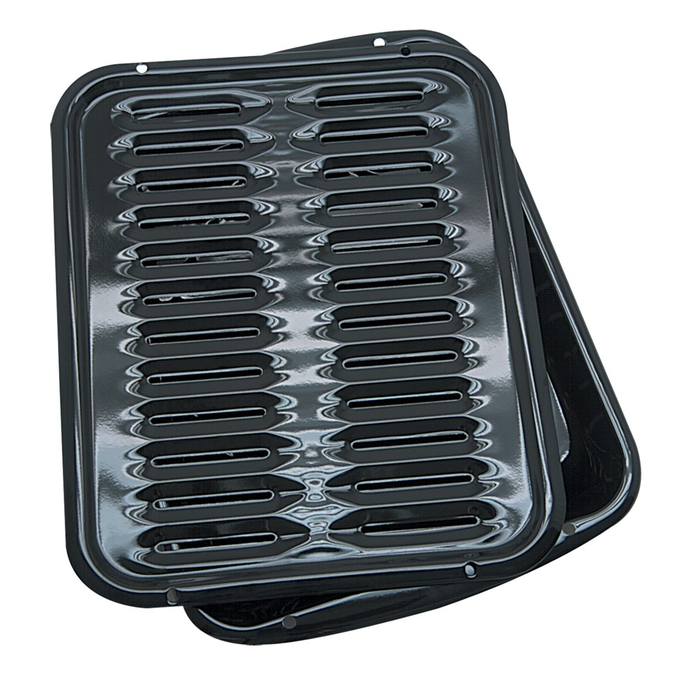 "Image of ""Range Kleen 13""""x16"""" Porcelain Broiler Pan & Grill Black"""