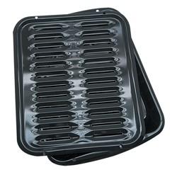 "Range Kleen 13""x16"" Porcelain Broiler Pan & Grill Black"