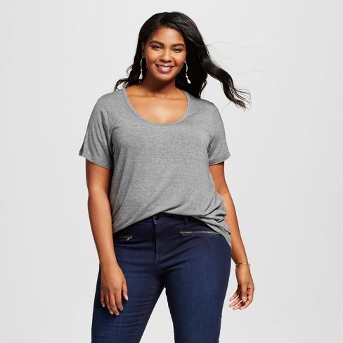 bad77537969 Women s Plus Size Perfect T-Shirt - Ava   Viv™ Heather Gray 2X   Target