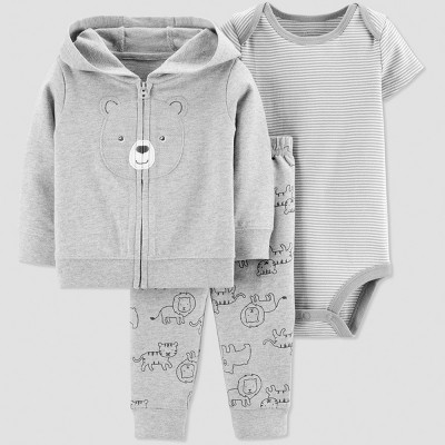 Baby Boys' 3pc Bear Short Sleeve Cotton Cardigan Set - Just One You® made by carter's Gray 3M