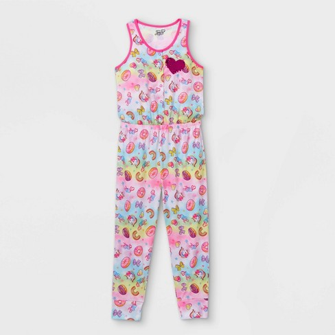 Girls' JoJo Siwa Rainbow Pajama Jumpsuit - Pink - image 1 of 3
