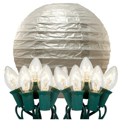 """10ct 10"""" Electric String Light with Paper Lanterns Silver"""